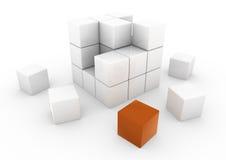 3d oranje bedrijfskubus Stock Fotografie