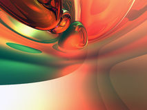 3d Oranje Groene Glanzende Abstracte Achtergrond Stock Foto's