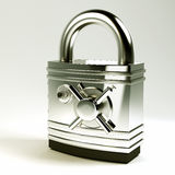 3d Pad Lock with Safe Lock Royalty Free Stock Photography