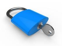 3d padlock blue. Key safety lock lie Stock Images