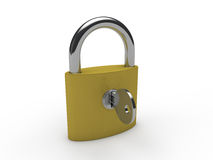 3d padlock key gold Royalty Free Stock Photos