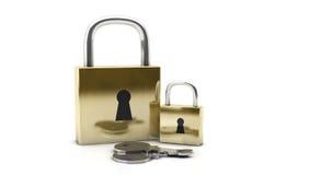 3d padlocks  with key. 3d padlocks on white background Stock Photos
