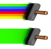 3d paint brush painting a rainbow green line Stock Photo