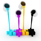 3d paint buckets drop over puzzle Royalty Free Stock Photography