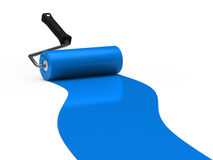 3d paint roller blue. 3d paint rollerblue color ground white Royalty Free Stock Photos