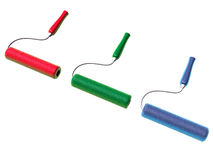 3d paint rollers. Paint rollers, yellow, green and blue colors Royalty Free Stock Image