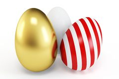 3d painted and white eggs Royalty Free Stock Photography