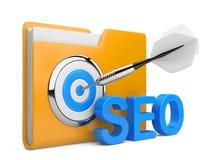 3D palavra SEO com alvo, dobrador e dardo Imagem de Stock