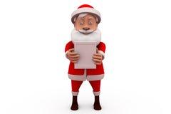 3d Papá Noel con pequeño concepto del tablero Fotografía de archivo