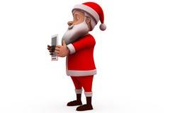 3d Papai Noel com conceito da tabuleta Fotos de Stock Royalty Free