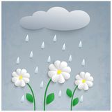 3d Paper Flowers, Rain And Cloud. Stock Image