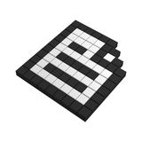 3d paper pixel icon. Black and white illustration Stock Images