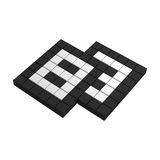 3d paper pixel icon. Black and white illustration Royalty Free Stock Photography