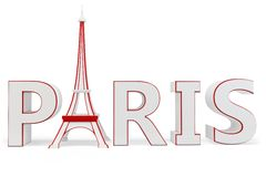 3d paris with eiffel tower symbol Stock Image