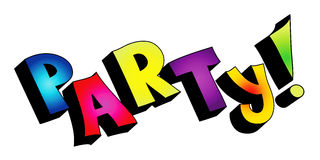 3D party text isolated stock photos