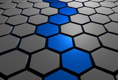 3d pathway. 3d hexagons with blue pathway through the middle royalty free illustration