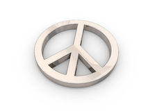 3D peace symbol over white Royalty Free Stock Photo