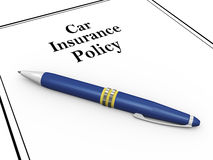 3d pen and car insurance policy. 3d render of pen and car insurance policy document Stock Photos
