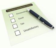 3d pen and survey questionnaire. 3d pen on the background of customer satisfaction survey Questionnaire Stock Photo