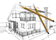 3d Pencils And Sketch Royalty Free Stock Photography