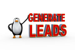Free 3d Penguin With Generate Leads Royalty Free Stock Images - 58095329