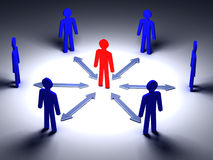 3d people. Human character in circle with leadership.3d render illustration Royalty Free Stock Photo