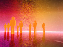 3D people. Group or team surroundied by technology Royalty Free Stock Photography