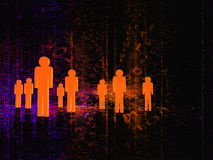 3D people. Group of people in the middle of technology Royalty Free Stock Images