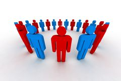 3d people. People in circle - outsiders - 3d illustration Royalty Free Stock Image