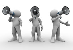 3d people annoucement. 3d render of people with megaphones. 3d illustration of human characters Stock Photography