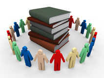 3d people around books. 3d render of people around books Royalty Free Stock Image