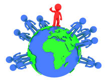 3d people around the globe. Global partnership concept. Isolated Royalty Free Stock Images
