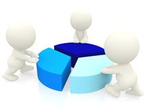 3D people around a pie chart Royalty Free Stock Photo