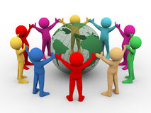 Free 3d People Around Transparent Globe Royalty Free Stock Photography - 30255307