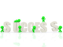3D people around the word success Royalty Free Stock Image