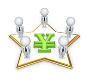 3d people around yen symbol. Royalty Free Stock Images