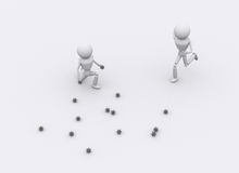 3D people attack. Royalty Free Stock Photo
