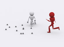 3D people attack. Royalty Free Stock Images