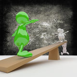 3D people Balance. On dark grunge background Royalty Free Stock Photo