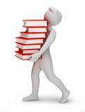 3d people - bearing books. 3d the person bearing books. 3d image. Isolated background Royalty Free Stock Image