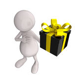 3D People With Black Glossy Gift Box. On White Background royalty free illustration