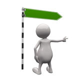 3D People with blank Road Sign. On white background Royalty Free Stock Photo