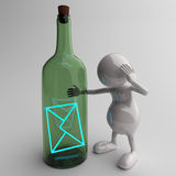 3D People With Blue Email Message in Bottle Royalty Free Stock Photo