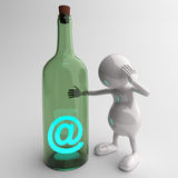 3D People With Blue Glossy Email Message in Bottle. On Dark Background Royalty Free Stock Photos