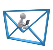 3D People with Blue Mail Icon and Laptop. On White Background Royalty Free Stock Photo