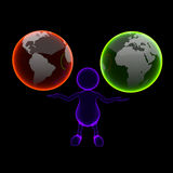 3D People Blue X-ray with Two Earth Globes. On Black Background Stock Image