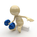 3D People Bodybuilder. 3D People Little Bodybuilder on White Background Stock Photography