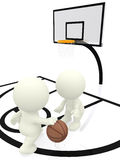 3D people bouncing basketball Royalty Free Stock Photo