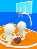 3D people bouncing basketball Stock Image