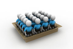 3d people in box, team work concept Royalty Free Stock Photography